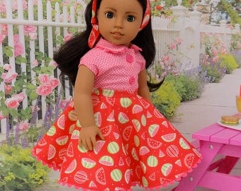 Juicy Watermelon - circle skirt and blouse ensemble for American Girl doll with shoes