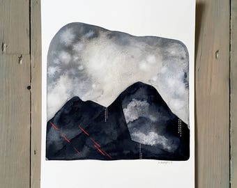 Storm Over The Black Mountains 2 - Original 8x10 Watercolour Landscape Art Painting - Monochrome, Neon Pink - by Natasha Newton