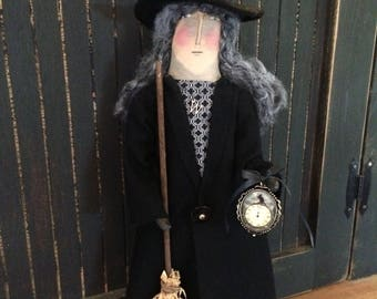 Halloween Witch of the Forest Doll with Charm and Broom