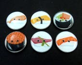 6 Sushi themed Buttons.  Choose Your Size. Each button different.  Handmade Buttons.