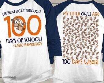 Teacher shirt - 100 Days of school - owl hundred day personalized unisex raglan shirt  mscl-118-r