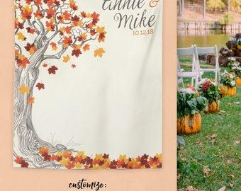 Rustic Fall Wedding, Autumn Wedding Decor, Autumn Wedding Backdrop, Rustic Wedding Decor, Autumn Wedding Banner / W-A30-TP MAR1 AA3