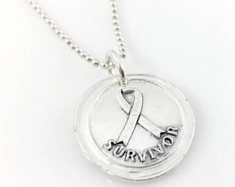 Survivor Awareness Ribbon Wax Seal Inspired Necklace - handmade, fine silver