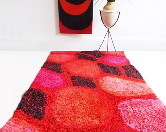 mid century modern red abstract Rya rug / 1960s modernist rug / mid century home decor