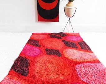 mid century modern red abstract Rya rug / 1960s modernist rug / Eames  Herman Miller Alexander Girard era