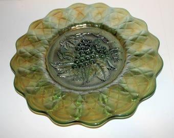 "Imperial Carnival Glass Green Grape 11.5"" Chop Plate"
