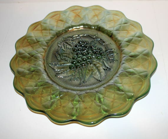 "Antique Imperial Carnival Glass Green Grape 11.5"" Chop Plate"