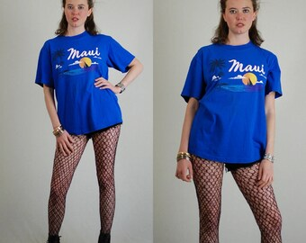 Maui Hawaii Vintage Blue Island Print Tees MAUI Slouchy Ringer Jersey T Shirt (m l)