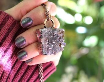 Amethyst Necklace Raw Amethyst Pendant Raw Amethyst Necklace Amethyst Crystal Amethyst Cluster Raw Crystal Druzy Necklace Druzy Pendant