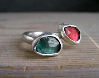 Double Rose Cut Tourmaline Sterling Silver Open Ring