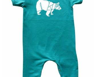 Woodland Teal Baby Romper for Boys and Girls