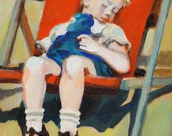 The sleeping boy - ORIGINAL PAINTING on canvas panel