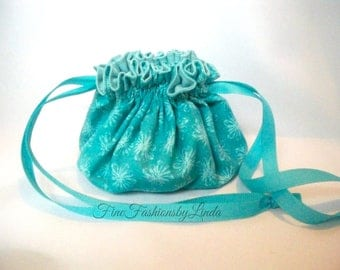 Jewelry Bag, Small Drawstring Bag, Turquoise Pattern, Travel Pouch, Cotton Fabric