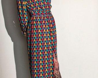 vintage 80s high neck harlequin silk shirt midi dress UK10 EUR38