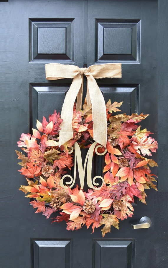 Fall Burgundy Leaf Wreath, Fall Wreath, Fall Monogram Wreath with Pinecones, Autumn Fall Decor, Fall Colors,  READY TO SHIP 24 inch