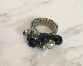 Black and Silver Cluster Ring