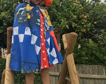 Boy's vintage upcycled Lego minifigures Festival Fashion Super Hero Cape Lego City dress up fancy dress costume textiles Age 4 5 6 7 years