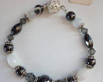 Hematite, Pewter and White Jade Bracelet