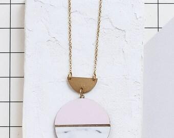 Circle Necklace, Geometric Statement necklace, Scandinavian design