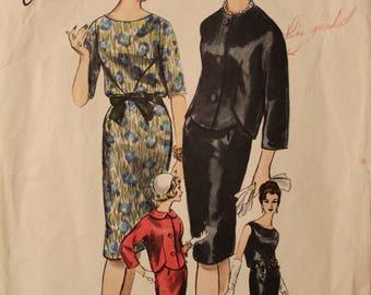Vintage 1961 60s Vogue Paris Original Jean Desses 1064 One Piece Dress and Jacket Pattern