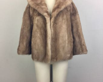 Vintage 60s Brown MINK Fur Jacket Coat S/M