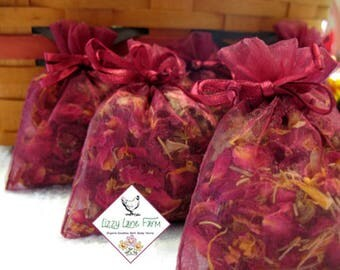 Gardenia Scented Rose Filled Sachets  Gardenia Sachet Gift Set of 6 fresh dried herbs | Rose Potpourri | Rose Sachet | Gardenia Sachet