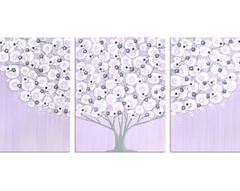 Nursery Wall Art Canvas Lilac and Gray Decor for Baby Girl - Large Flowering Tree Painting on Triptych - 50x20