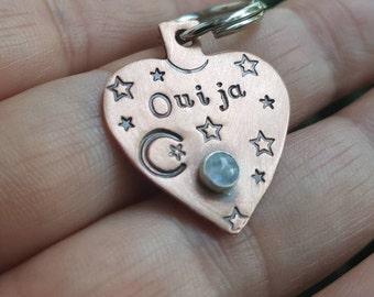 Ouija planchette pet tag, Goth pet tag, Dark pet tag, Anniversary gift, Girlfriend gift, Till death keychain, dog pet tag, cat pet tag