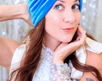Turquoise Velvet Turban - Women's Fashion Hair Wrap in Blue - Bohemian Style Hair Accessories