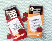 KIT Teacher Appreciation Candy Bar Wrappers,  NoteBook Messages for Teacher, Thanks Teacher, Hershey Candy Bar Wrappers, Substitute Gift