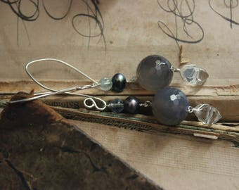 North Atlantic. Sterling Silver Herkimer Diamond Freshwater Pearl Aquamarine and Grey Onyx Earrings.