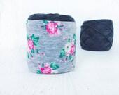Pink Flower Yarn Cozie- Flower Yarn Keeper- Yarn Organizer- Yarn Storage- Yarn Bowl- Crochet Accessories- Yarn Holder- Skein Coats- Knitting