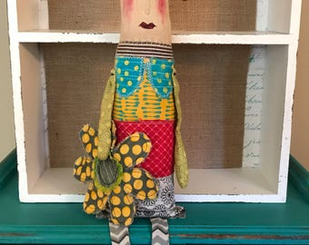 Mixed Media Folk Art Doll Whimsical...Sunflower Summer Queen