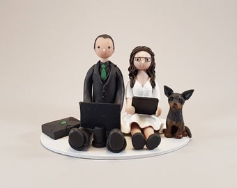 Seated Couple with a Dog Custom Made Wedding Cake Topper