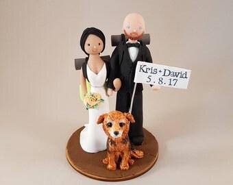 Bride & Groom Custom Made Hike Theme Wedding Cake Topper