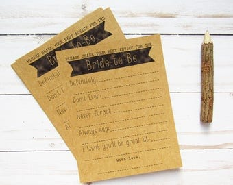 Advice for the Bride Cards - Wedding Advice Cards - Advice for the Bride to Be - Bridal Shower Advice Cards - Advice Mad Libs - Rustic Theme