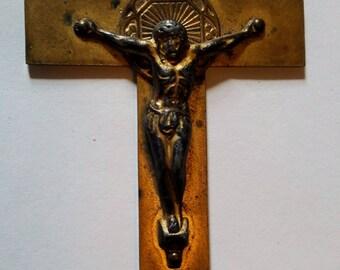 Antique Brass Pectoral Crucifix OLD!!