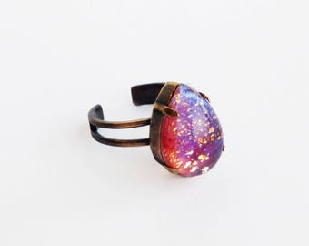 Iridescent Pink Glass Ring Vintage Pink Glass Fire Opal Ring Pink Dragons Breath Cocktail Ring Adjustable Antique Brass Glass Ring