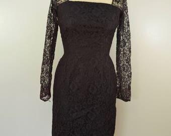 Vintage Ladies DRESS black DARK purple UNION made usa 1950's goth steampunk