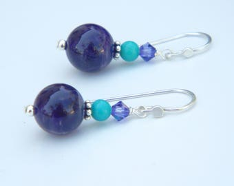 Beautiful Amethyst and Turquoise Dangling Earrings