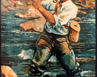 Fishing Art Print - New Zealand Travel Poster - Vintage Fisherman - Antique Fishing Print - Fly Fishing - Mancave Art - Fisherman Gift