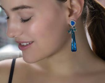 Australian Opal Earrings Lightning Ridge Black Opal Post Long Dangle Earrings Swiss Blue Dangle Swarovski Diamond Pave Look - Azure