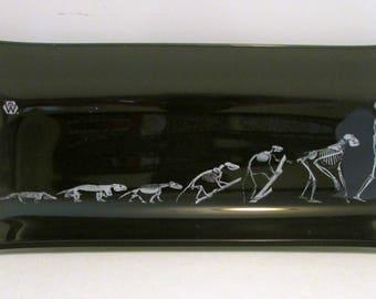 Vintage DARWIN Evolution of Man Skeleton Smoke Glass Tray Drug Store Promo Dish Card Tray Ash Tray 1960s to 1970s
