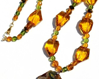 Amber Diamond Cut Crystal Glass, Vintage Beads and Agate Pendant