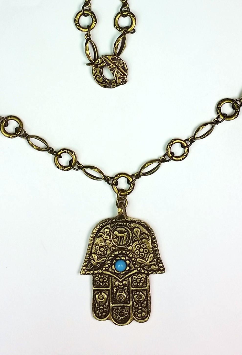 Hamsa pendant talisman long necklace antique brass chain hamsa pendant talisman long necklace antique brass chain blue evil eye judaica middle eastern biocorpaavc