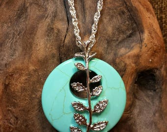 Turquoise Annularity Annularity Wrapped in Silver Leaves Necklace 17""