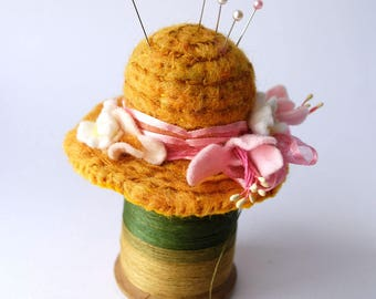 Original Handmade Needle Felted Straw Hat  Pin Cushion