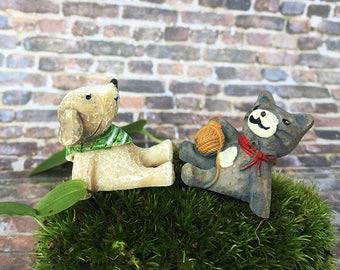 Miniature Cat &Dog / Miniature Cat/ Fairy garden Accessories/ Tiny dog/ dollhouse pet