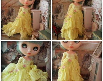 BLYTHE DRESS - Vintage Styled Shabby Elegance Tattered/Layered/Hand-Dyed Silk Dress  - Sunny Yellow