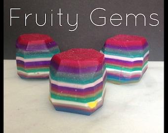 Fruity Gems Soap - Gemstone Soap - Handmade Soap - Rainbow Sherbet Scent - Vegan Formula - With Shea Butter